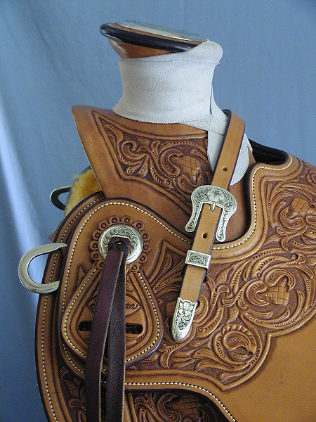 hand made Wade saddle, tall cantle, handcrafted, hand tooled, custom silver,