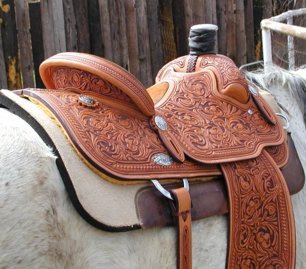 Custom made roping saddle, made by a roper